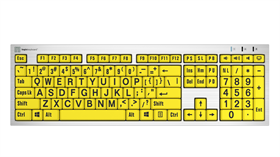 LargePrint Black on Yellow - PC Slimline Keyboard