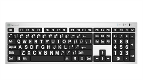 LargePrint White on Black - PC Slimline Keyboard