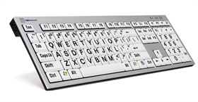XL Print PC Slim Line Black on White Keyboard