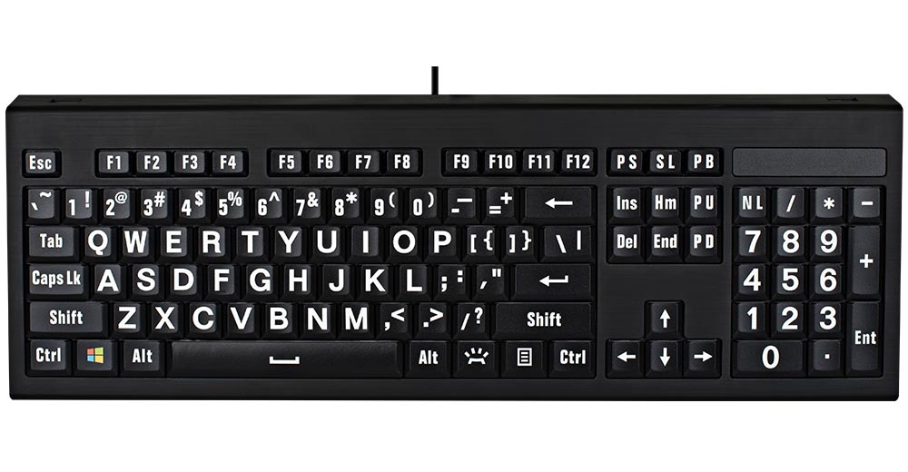 image relating to Printable Computer Keyboard named Logickeyboard LargePrint White upon Black Computer system ASTRA Backlit