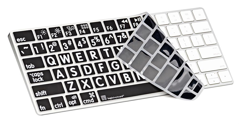 XLPrint LogicSkin White on Black American English Apple Magic Keyboard Cover