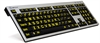 XL Print PC Slim Line Yellow on Black Keyboard